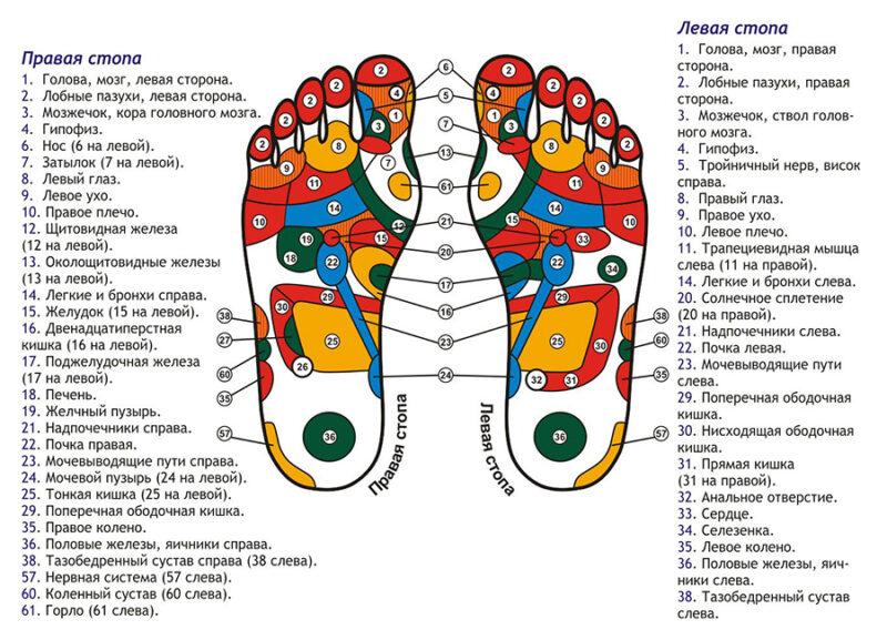 Значение точек на стопе, правила и польза их массажа для организма